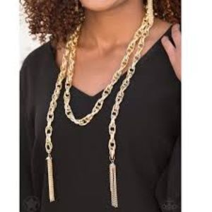 Scarfed for Attention Gold Necklace Earrings Set